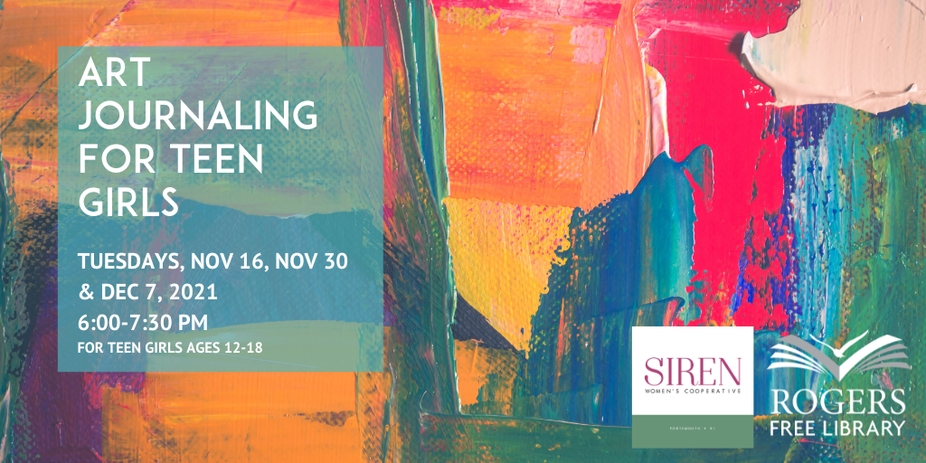 Abstract painted canvas with text art journaling for teen girls ages 12-18 Nov 16 Nov 30 Dec 7 2021 6-7:30 pm