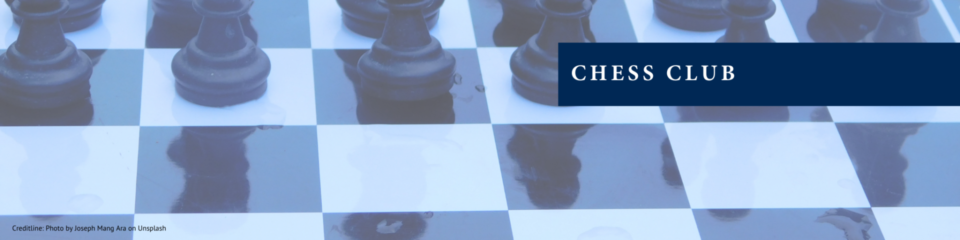 Chess pieces and board and text Chess Club