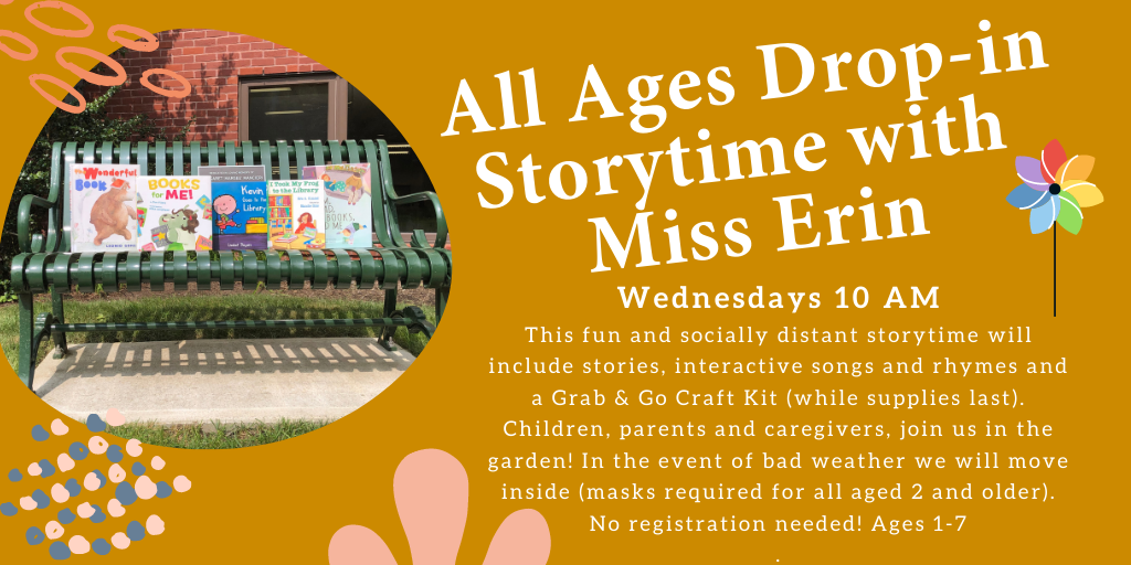 Image of childrens books on park bench and all ages storytime with miss erin description wednesdays at 10 am