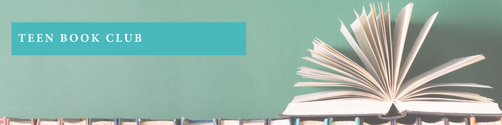 Green background with book splayed open with teen book club text